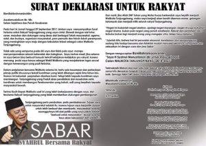 """Surat Deklarasi Untuk Rakyat"""" dari Syahrul"""