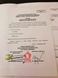 Salinan SK DPP Gerindra tentang persetujuan pasangan Syahrul-Rahma sebagai Walikota dan Wakil Walikota Tanjujgpinang di Pilkada Tanjungpinang 2018