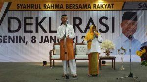 Syahrul-Rahma saat orasi politi dalam deklarasi sebagai Calon Wali Kota dan Wakil Wali Kota Tanjungpinang di Pilkada Tanjungpinang 2018