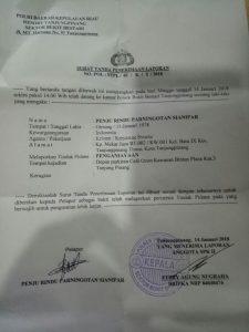 Surat Tanda Laporan Polisi Rindu Sianipar di Polsek Bestari