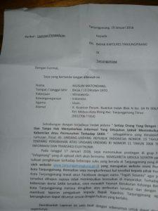 Surat laporan YKKBI ke polisi yang ditujukan kepada Kapolres Tanjungpinang