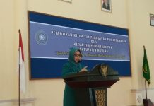 Ketua TP-PKK Natuna Nurhayati Hami Rizal saat menyampaikan sambutan