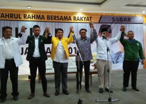 Para pimpinan partai politik pengusung bersama pentolan pendukung Syahrul-Rahma