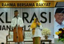 Pasangan Syahrul-Rahma saat deklarasi sebagai calon Wali Kota dan Wakil Wali Kota Tanjungpinang