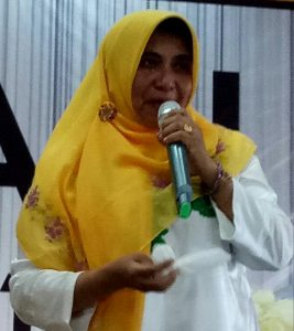 Rahma saat orasi politik dalam acara Deklarasi Syahrul-Rahma sebagai pasangan calon Wali Kota dan Wakil Wali Kota Tanjungpinang