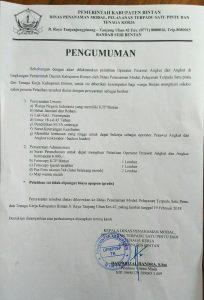 Pengumumna calon peserta Pelatihan Operator Pesawar Angkat dan Angkut