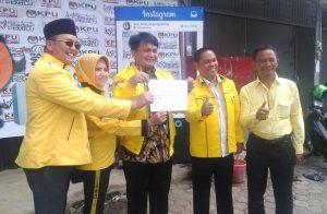 Ade Angga dan pengurus Golkar Tanjungpinang saat menyerukan penolakan politik SARA, politik uang dan politik curang di Pilkada Tanjungpinang