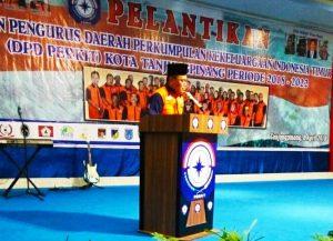 Ketua Umum Perkit Kota Tanjungpinang Azis Kasim Djou saat menyampaikan sambutan