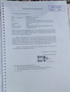 Tanda terima surat pengunduran diri Rahma dari anggota DPRD Tanjungpinang