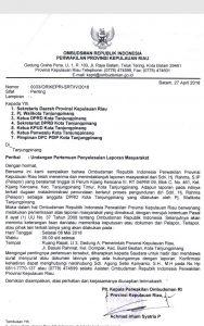 Surat 'pemanggilan' Ombudsman RI Perwakilan Kepri