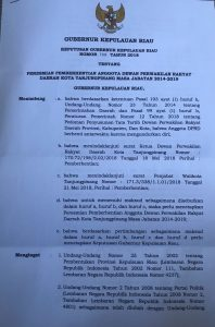 SK Gubernur tentang pemberhentian Rahma sebagai Anggota DPRD Tanjungpinang
