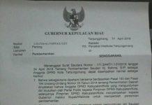 Surat Gubernur Kepri (ft: batamtime.co)