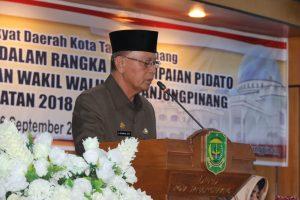Walikota Syahrul saat menyampaikan visi dan Walikota Tanjungpinang 2018-2023