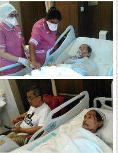Ayahanda Andi Cori di ruang rawat di Hospital Glaneagle Medini, Malaysia