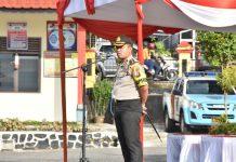 Kapolres Tanjungpinnag saat apel pengamanan imlek 2019